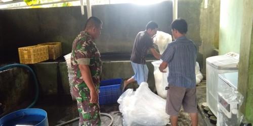 Serda Nazmi saat anjangsana di tempat pembudidayaan ikan air tawar di rumah salah satu warga binaan. (Foto: Roby)
