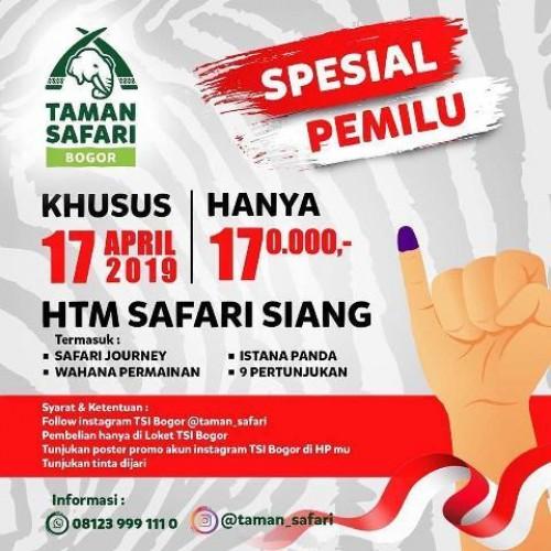 Wujud kecintaan negeri, sekaligus upaya menggenjot partisipasi pemilih, Taman Safari Bogor Jawa Barat gelar diskon tarif pada Pemilu 17 April 2019. Foto: Istimewa