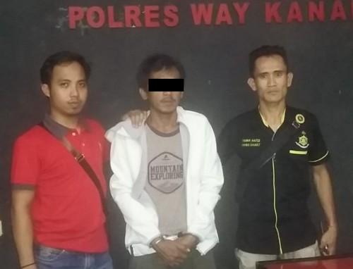 Pelaku Penusukan menyebabkan korbannya Meninggal diamankan Tekab 308 Polres Way Kanan. (Foto: Istimewa)